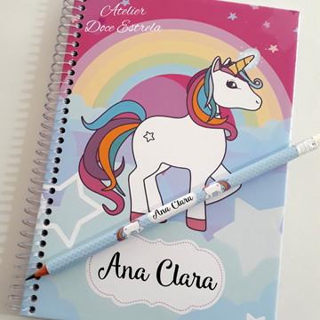 Mini Caderno Personalizado de Unicórnio