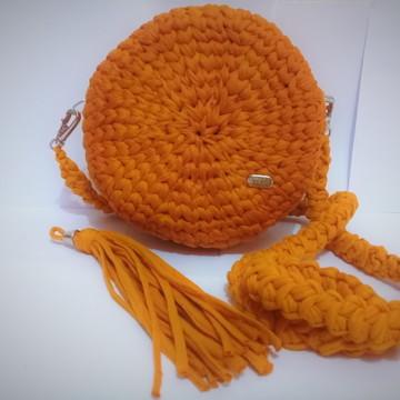 bolsa de crochê de fio de malha