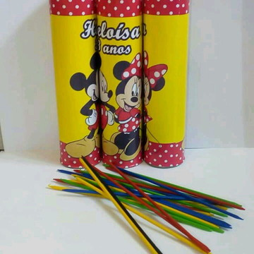 Pega Vareta Personalizado- Tema Minnie e Mickye