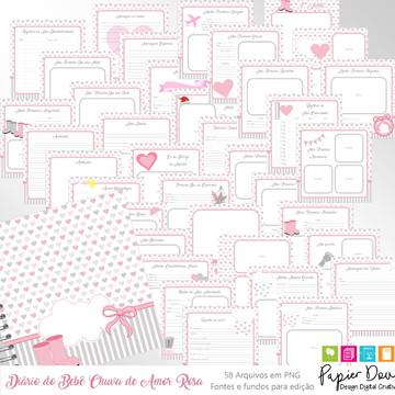 Diário do Bebê - Chuva de Amor Menina (Rosa e Cinza)