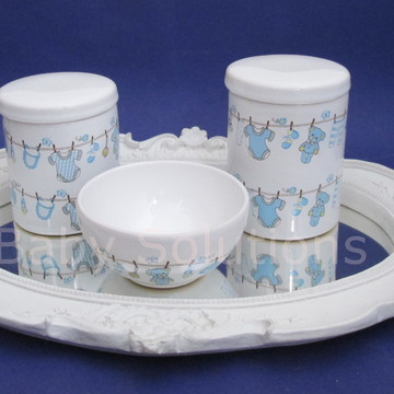 Kit de Higiene Bebe Ovelha Varal Rosa Azul Ceramica 3 pecas