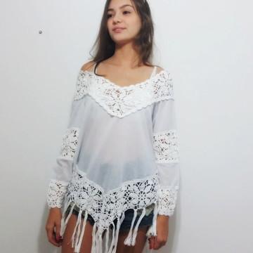 blusa crochê e crepe estilo bojo com fra