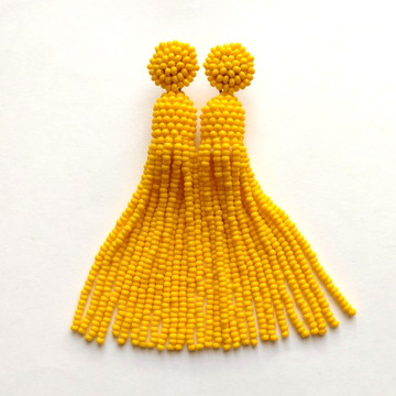 Brinco Tassel de Miçangas - Amarelo