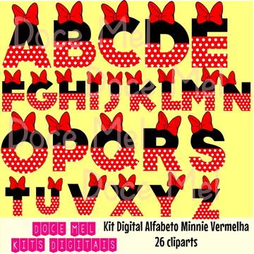 Kit Digital Alfabeto Minnie Vermelha