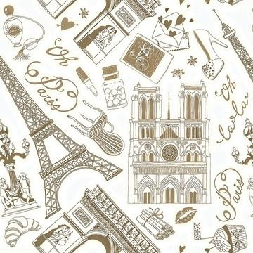 Papel de Parede Paris Detalhes Café Sobre Branco