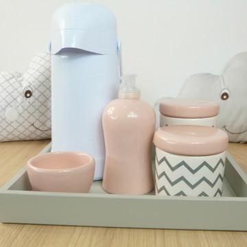 Kit Higiene Bebe Porcelana Chevrom Cinza e rosa