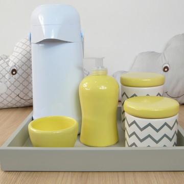 Kit Higiene Bebe Porcelana Chevrom Cinza e Amarelo