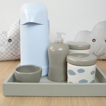 Kit Higiene Bebe Porcelana Nuvem Cinza