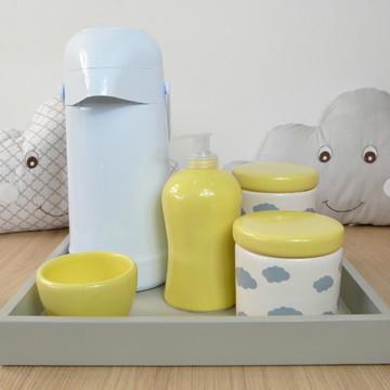 Kit Higiene Bebe Porcelana Nuvem Amarelo e cinza