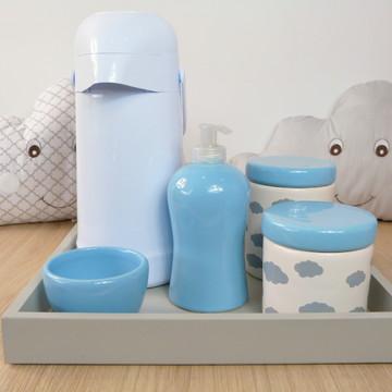 Kit Higiene Bebe Porcelana Nuvem Cinza e Azul