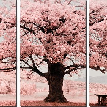 Kit Quadro Decorativo Árvore De Sakura Com Banco Em Baixo