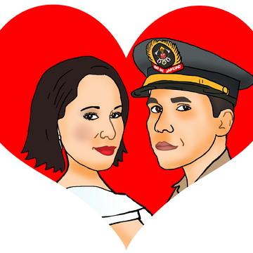 Caricatura dos Noivos - Rostos em um Coração