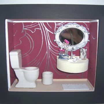 Quadro Cenário Banheiro em Porcelana.