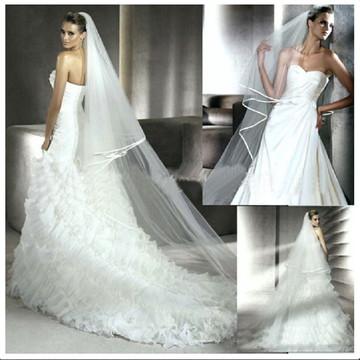 Véu de noiva-Tule francês e cetim-2 camadas-Branco