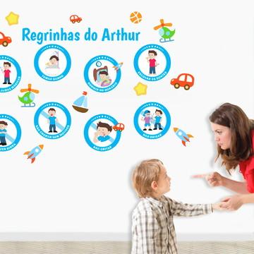 8 Adesivos de Regras Infantil para Menino