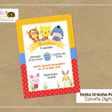 Convite digital Ursinho Pooh