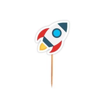 Pick Festa Astronauta Espaço Foguete - 24 Unid