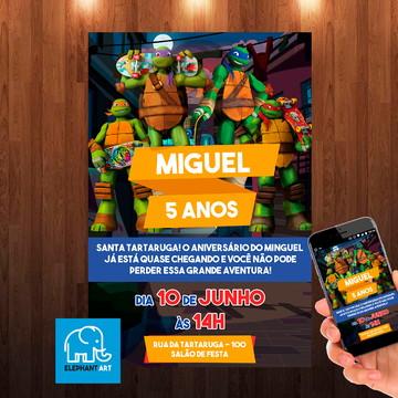 Convite Aniversário Tartaruga Ninja - Arte Digital