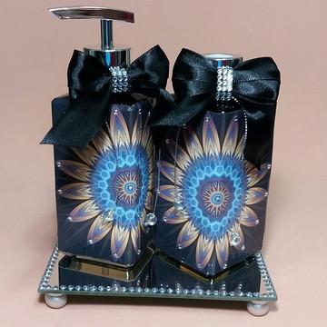 Kit Conjunto para Lavabo Luxo Sabonete Liquido e Difusor