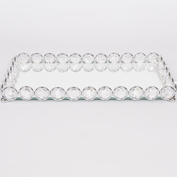 Bandeja argola cromada cristal