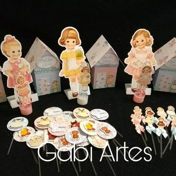 Kit festa tema boneca de papel