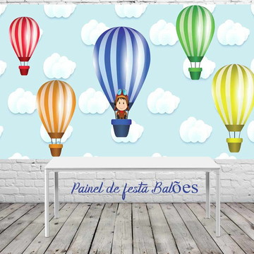 Painel de festa balões nas nuvens