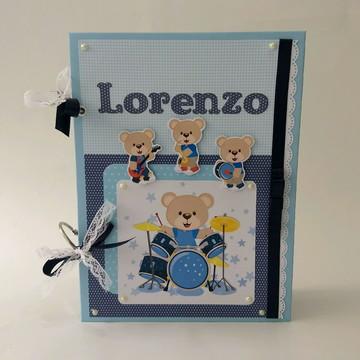 Álbum livro do bebê personalizado scrapbook urso musical