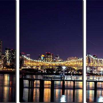 Kit Quadro Decorativo Ponte E Cidade Iluminada Decoração