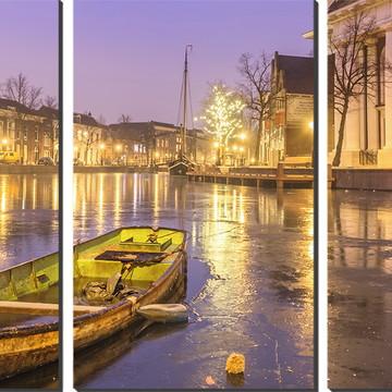 Kit Quadro Decorativo Barco Com Iluminação Da Cidade
