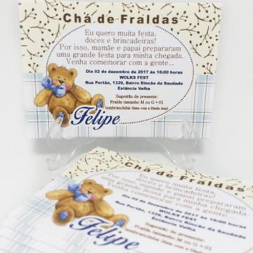 CONVITE CHA DE FRALDA PERSONALIZADO 10x7 - Urso Bege e Marro