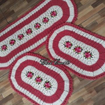 Jogo de tapetes 3 peças em crochê