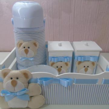 Kit Higiene Urso Azul Listrado