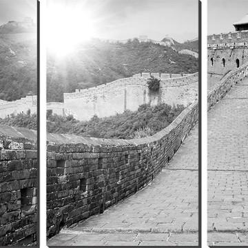 Quadro Decorativo Muralha Da China Preto E Branco