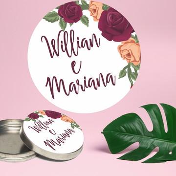 Adesivo para latinha mint to be Casamento floral marsala