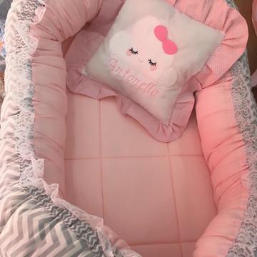 Ninho para bebe rosa com chevron cinza chuva de bencao