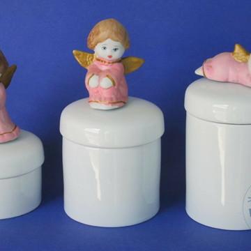 Kit de higiene de porcelana anjo 3 pçs