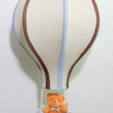 lustre balão infantil personalizado bege com cinza e marrom