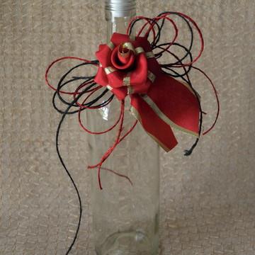 Laço para Garrafa - flor de fita