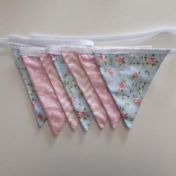 Varal De Bandeirinhas De Tecido chevron flores estrelas rosa