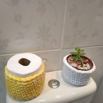 Kit cesto de Croche para Banheiro