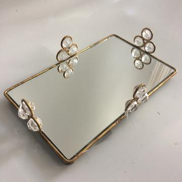 Bandeja argola dourada cristal