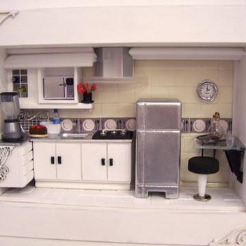 Quadro Cenário Cozinha Moderna em Miniatura