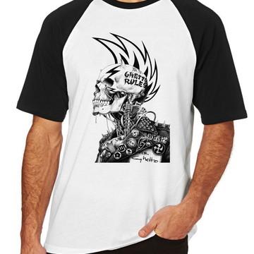 Camiseta Raglan Blusa Camisa Caveira guetto rules regras