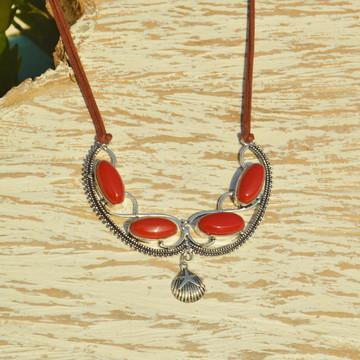 Max Colar Coral Vermelho