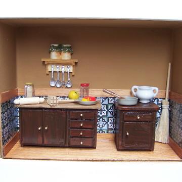 Quadro Cenário Cozinha de Fazenda em Miniatura