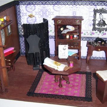 Roombox Cenário Atelier de Costura em Miniatura