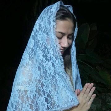 Veu Tradicional Azul para Missa FRETE GRÁTIS