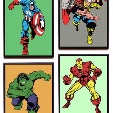 Jogo de quadros Heróis Marvel