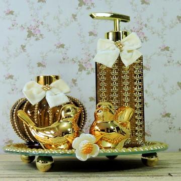 Kit Ouro Passarinho Lavabo Banheiro Difusor Sabonete Líquido