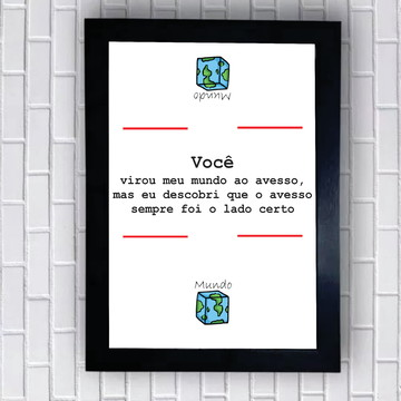 "Quadro ""Mundo Avesso"". Presente de namoro"